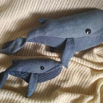 Джинсовые текстильные игрушки кит