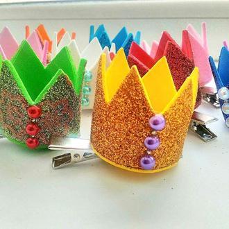 Корона для девочки (на годик) из фетра, из фоамирана, аксессуары для волос, заколки