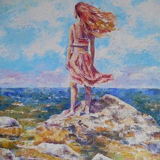 """Картина акрилом """"Рыжая"""" девушка над морем"""