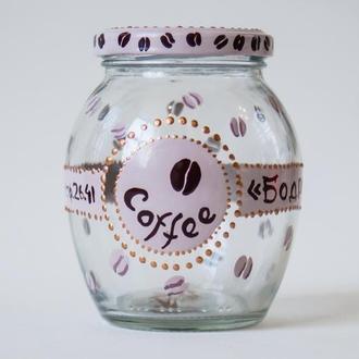 Расписная баночка для кофе.