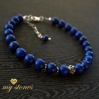 """Браслет из афганского лазурита и серебра 925 пробы """"Blue Lotus"""""""