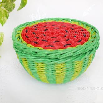 Плетеная корзина с крышкой - арбуз