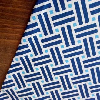 Ткань геометрия синий для рукоделия, пэчворка