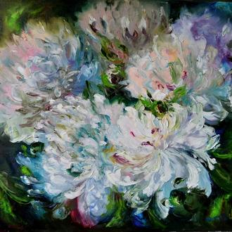 """Пионы"" живопись маслом, 45х50см, цветы, пионы живопись"
