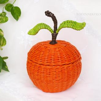Плетеная корзина с крышкой - апельсин