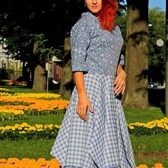 Платье деним+лен с капюшоном