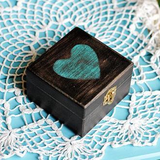 коробка для колец бирюзовое сердце
