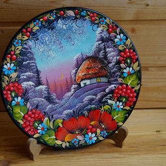 Тарелка Зимний пейзаж, Петриковская роспись, Петриковка