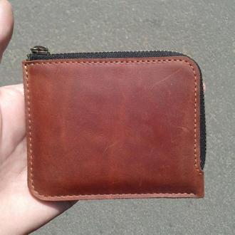 Маленький тонкий кожаный мужской и женский кошелек на молнии для монет денег или 10-ти карт.