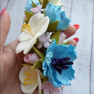 Ободок для волос с цветами из фоамирана