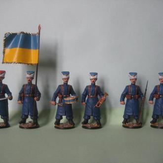 54мм Украинские КОЗАКИ Синежупанной дивизии 1918 год, ручная работа (литье, олово, роспись)