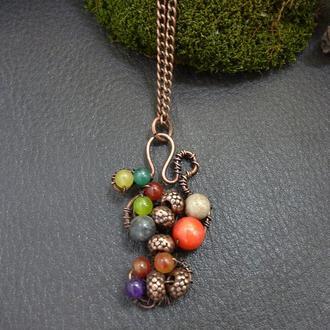 кулон медный разноцветный// техника Wire-wrap