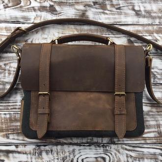 Комбинированная Кожаная сумка-портфель