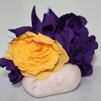 Венок, обруч с цветами из ткани в стиле Фриды