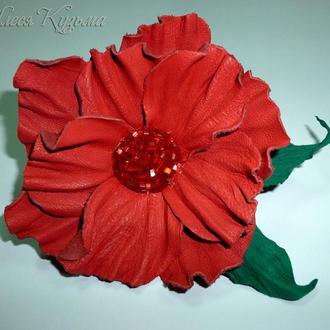 Кольцо для шарфа с кожаным цветком