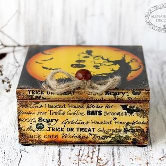 Шкатулка из дерева для чая или специй Trick-or-Treat Halloween