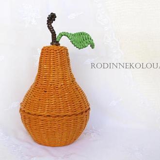Плетеная корзина с крышкой - желтая груша