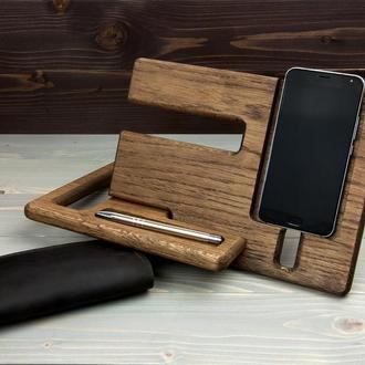 Подставка для телефона + Кожаный кошелек. Подарочный набор 2