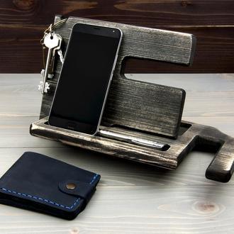 Подставка для телефона + кожаный кошелек. Подарочный набор 3