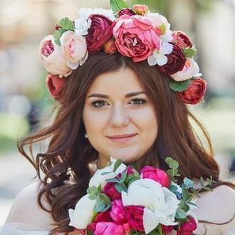 Свадебный веночек с пионами Киев Венок объемный Веночек на голову
