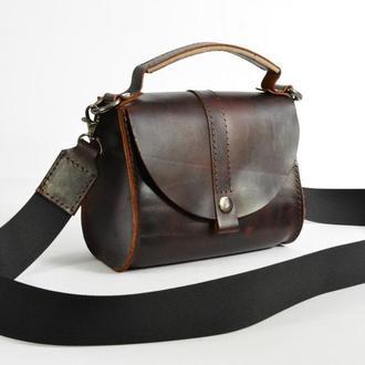 Летняя кожаная сумочка через плечо