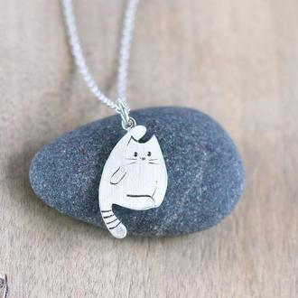 Серебряная подвеска Котик