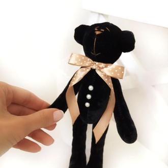 Бархатный чёрный мишка тильда игрушка Тедди подарок на день рождения девушке любимой маме подруге