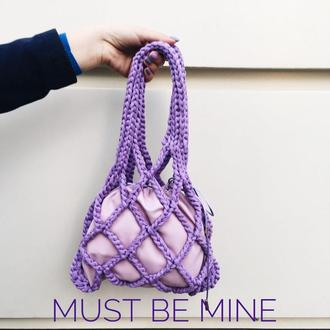 Netting bag mini LAVENDER, сумка вязанная, авоська, сумка летняя