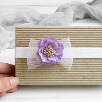 Повязка с цветком для малышки, Фиолетовая повязка с бантиком и цветком, Красивая повязка на голову