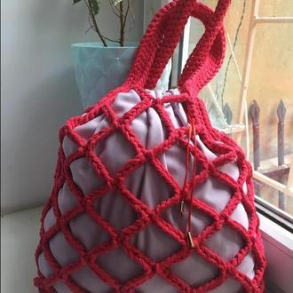 Netting bag maxi CORAL, сумка вязанная, авоська, сумка летняя