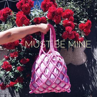 Netting bag maxi SWEET PINK, сумка вязанная, авоська, сумка летняя