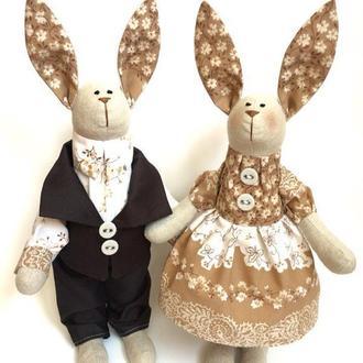 Зайки тильда пара Кофейные оригинальный подарок заяц игрушка сувенир декор