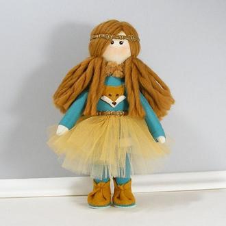 Авторская текстильная кукла Лисичка Рыжая кукла в горчично бирюзовом наряде Мягкая игрушка и декор