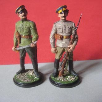 54мм КОЗАКИ Первого Украинского Б.Хмельницкого полка 1917 год, ручная работа (литье, олово, роспись)