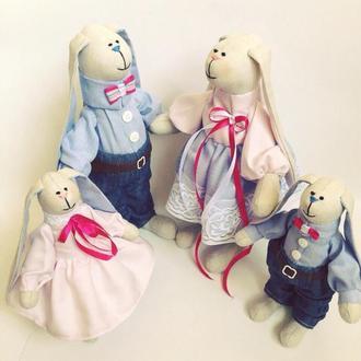 """Семья заек тильда """" SWEET FAMILY """" игрушка оригинальный подарок свадьба крестины"""