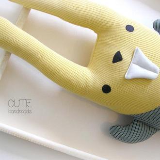 Заяц Зубастик в полосатом комбинезоне  Мягкая игрушка подушка Интерьерная игрушка кролик