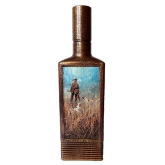 Декор бутылки Одинокий охотник Охотничьи сувениры ручной работы Подарок мужчине охотнику