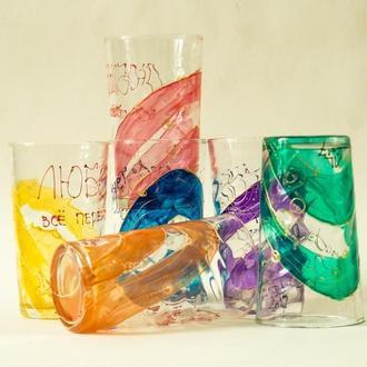 Набор стаканов - 6 шт. Ручная роспись с надписью из Библии.
