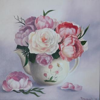 Букет пионов, картина маслом на холсте, написана на заказ, возможен повтор, размер 40х40см