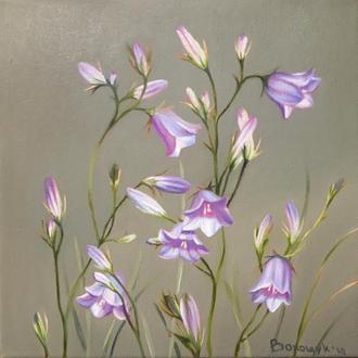Дзвіночки, картина олією на полотні, квітковий живопис Мирослави Волощук, розмір 24х24см