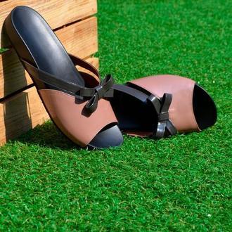 Fibie  - Кожаные шлепанцы с ортопедической стелькой и подошвой Vibram