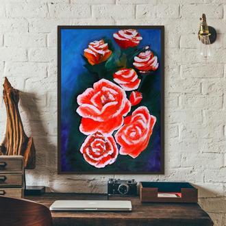 Розы (картина масло/холст) 70х50х2 см
