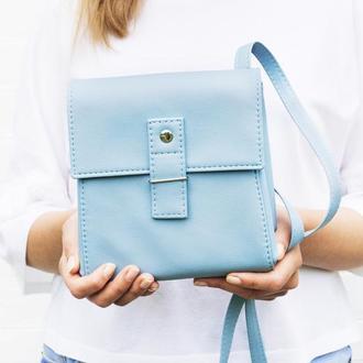 """Голубая сумочка через плечо """"Ponika"""". Маленькая сумка. Эко кожа."""
