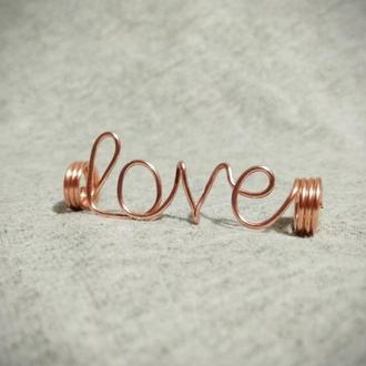 Бусина для дред love, дредобусина, украшения для дред, медь, dread bead, dreadlock bead