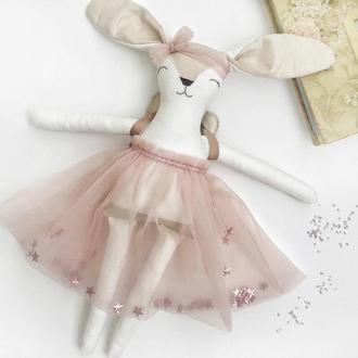 Зайка-фея в розовом с именной вышивкой