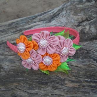"""Обруч """"Цветочки""""  цветы сделаны из репсовой ленты"""