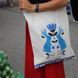 ECO-сумка натуральна на застiбцi, шопер