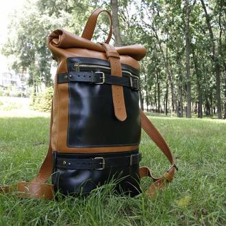 Большой мужской кожаный рюкзак
