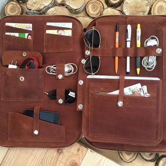 Кожаная Сумка органайзер для ноутбука коньяк