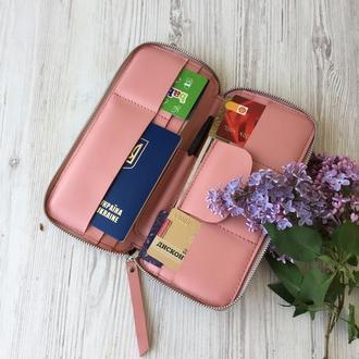 Кожаный кошелек Тревел Кейс Spich розовый